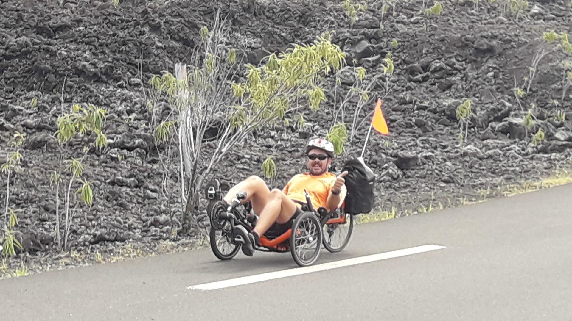 Balade en vélo-couché du côté de la route des laves à la Réunion